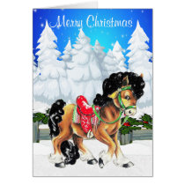 Winter Scene With Horse And Fence Merry Christmas Card
