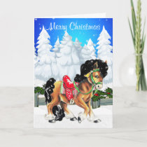Winter Scene With Horse And Fence Merry Christmas Holiday Card