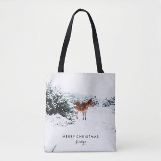 Winter Scene with Horse | Merry Christmas Tote Bag