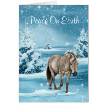 Winter Scene  With Horse Snow And Trees Holiday Card