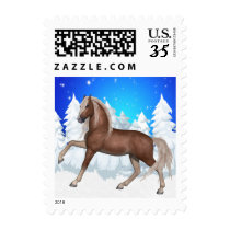 Winter Scene  With Horse Snow And Trees Holiday Postage