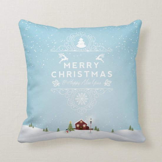 Winter Scene with Red Cabin Christmas Throw Pillow