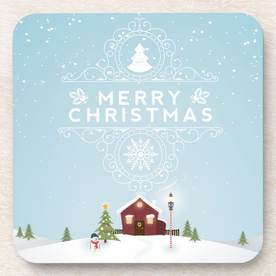 Winter Scene with Red Cabin Coaster