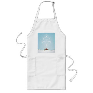 Winter Scene with Red Cabin in Snow Long Apron