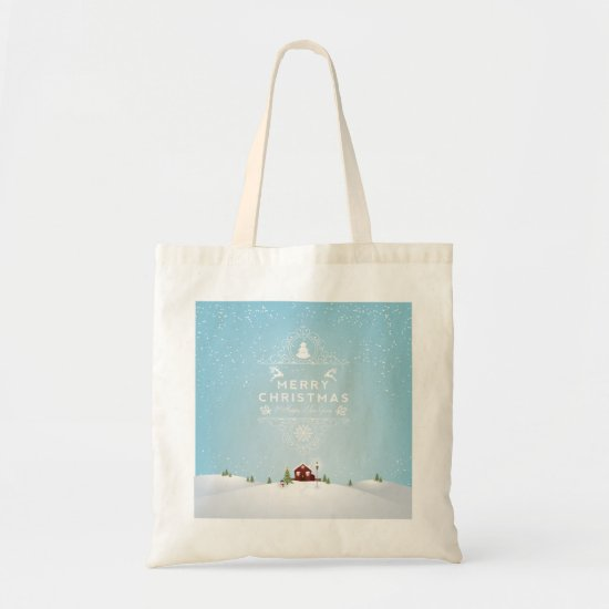 Winter Scene with Red Cabin,Merry Christmas Tote