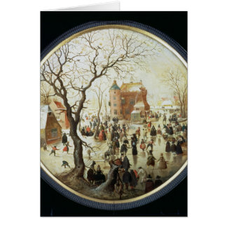 Winter Scene with Skaters near a Castle Card