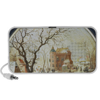 Winter Scene with Skaters near a Castle Travel Speakers