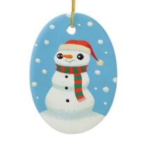 Winter Scene with Smiling Snowman Ornament