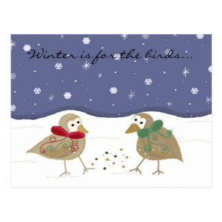 Winter Scene with Two Little Birds Postcard
