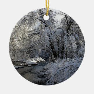 Winter Scenic Landscape Ceramic Ornament