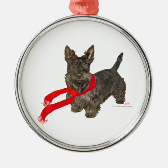 Winter Scottie in Wam Scarf Metal Ornament