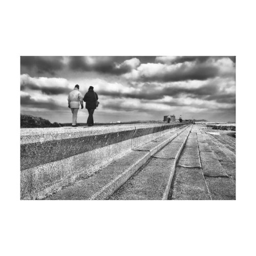 Winter Seaside Stroll, fine art black and white Canvas Print