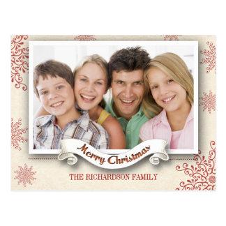 winter season Christmas greetings photo postcard