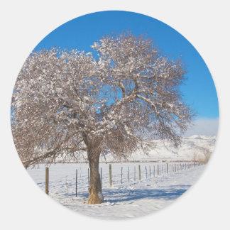 Winter Season On The Range Snow and Blue Sky Classic Round Sticker