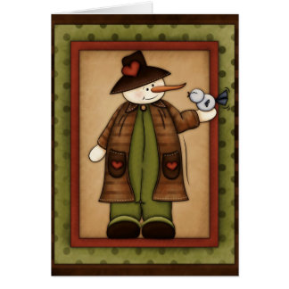 Winter Season Snowfolk Snowman Greeting Card 4