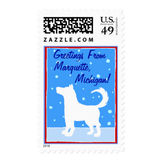 Winter Season STAMPS Sled Dog Silhouette in Snow