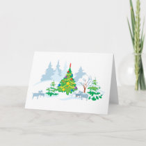 Winter Serene Christmas Goats Holiday Card