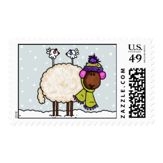 winter sheep postage stamp