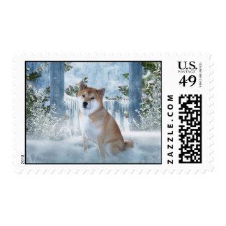 Winter Shiba Inu Stamps