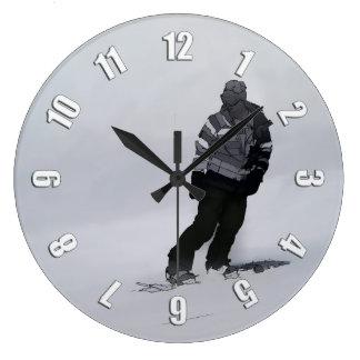 Winter Silence - Snowboarder Large Clock