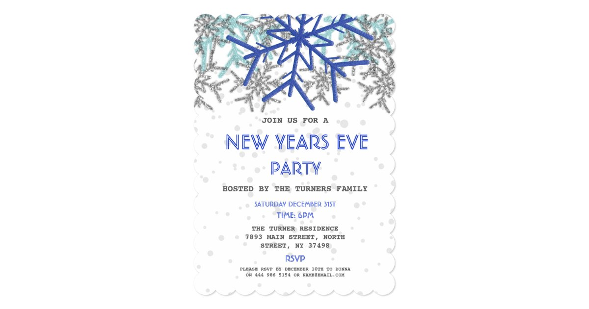 Winter Silver Blue Snowflake NEW YEARS EVE PARTY Invitation