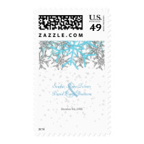 Winter Silver Blue Snowflakes Wedding Postage