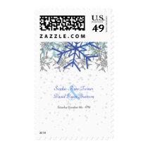 Winter Silver Navy Blue Snowflakes Wedding Postage