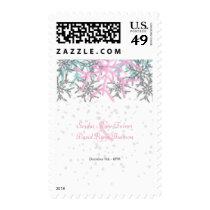 Winter Silver Pink Blue Snowflakes Wedding Postage