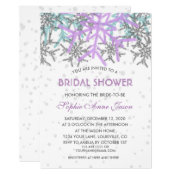 Winter Silver Purple Blue Snowflakes Wedding Invitation