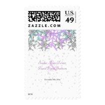 Winter Silver Purple Snowflakes Wedding Postage