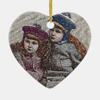 Winter Sisters Ceramic Ornament