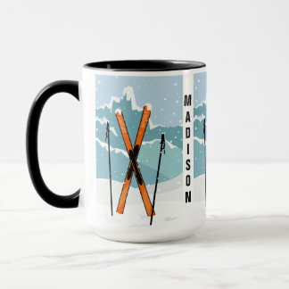 Winter Skiing custom name mugs