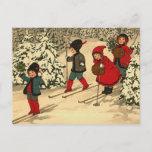 "Winter Skiing Postcard<br><div class=""desc"">Vintage scene of children skiing</div>"