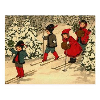 Winter Skiing Postcard