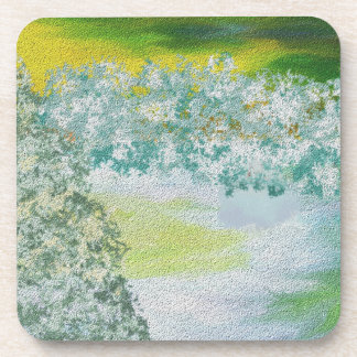 Winter Sky and Land Art Beverage Coaster