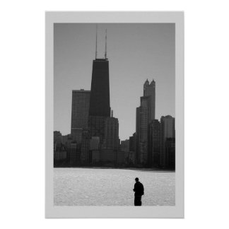 winter skyline, chicago poster