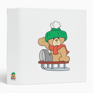 winter sled cute teddy bear design 3 ring binder