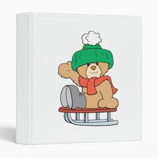 winter sled cute teddy bear design binder