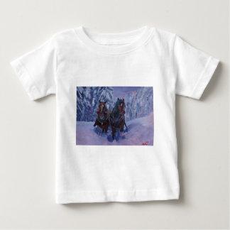 Winter Sled Horses Stomping through Snow Baby T-Shirt
