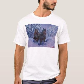 Winter Sled Horses Stomping through Snow T-Shirt