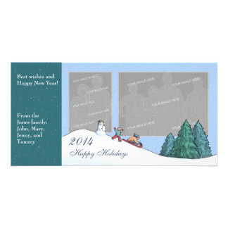 Winter Sledding Customizable Photo Card Double