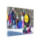 Winter - Sledding in the Park Gallery Wrapped Canvas