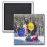 Winter - Sledding in the Park Fridge Magnets