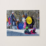 Winter - Sledding in the Park Jigsaw Puzzles
