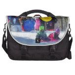 Winter - Sledding in the Park Laptop Commuter Bag