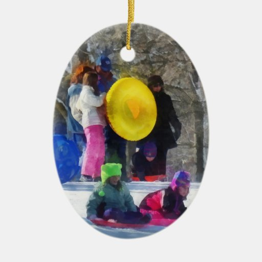 Winter - Sledding in the Park Christmas Tree Ornament