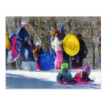 Winter - Sledding in the Park Post Cards