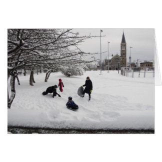 Winter Sledding Jersey City Card