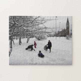 Winter Sledding Jersey City Puzzles