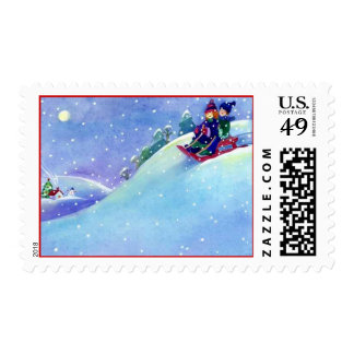 Winter Sledding Snowing Twilight Moon Snow Sled Postage Stamp